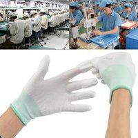 Wholesale Static Finger - 12pair Antistatic Gloves Anti Static ESD Electronic Working Gloves pu coated finger coating finger PC Antiskid for Finger Protection