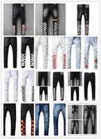 Wholesale Justin Bieber Pants Size Xs - OFF WHITE Men's Distress Ripped Biker Jeans JUSTIN BIEBER Embroidery US Size Famous Brand Designer Destroyed Denim Hip Hop Rock Pants--