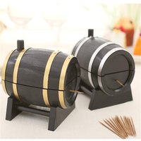 Distributeurs De Vin En Gros Pas Cher-Wholesale-Wine Barrel plastique automatique Toothpick Box Container Dispenser Holder Populaire nouvelle rétro style Wine Barrel Home et Living