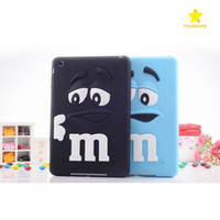 Wholesale Silicone Cartoon Cases For Ipad - New 3D Cartoon Silicon Case Cover Case Protective M&M Chocolate Rainbow Bean Soft Rubber for Table Apple iPad 2 3 4 iPad Mini