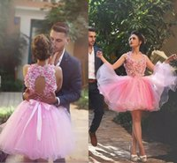 Wholesale Sexy Colorful Dresses For Cheap - Beautiful Short Colorful Homecoming Dresses for Girls Special Occasion Cheap Back to School Backless Tulle Flowers Cocktail Prom Gowns