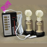 Wholesale Vacuum Sex Toys For Women - Electric Shock Host and Cable Shock Vacuum Breast Enhancer Clitoris Nipple Sucker Twist Pump Sex Toys For Woman Man