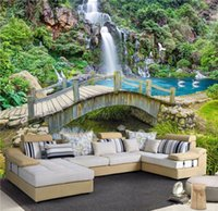 Wholesale Nature Print Paper - Custom Any Size 3D Mural Wallpaper Small Bridge Running Water Waterfall Nature Landscape Photo Background Wall Papers Home Decor