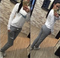 Wholesale Women Winter Sports Sweaters - 2017 Autumn winter tracksuit women clothing hoodies set letter print sport suit women Long-sleeved sweater suit sweatshirt+pants