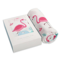 Wholesale organic bedding online - Ins Baby Muslin Swaddles Wraps Organic Cotton Flamingo Blankets Nursery Quilt Robes Bedding Newborn Ins Swadding Bath Shower Towels Parisarc