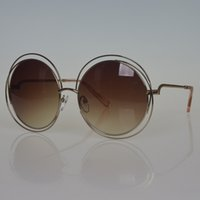 Wholesale Big Round Frame Sunglasses - New Big Frame Sunglasses Brand Designer Round Lens Sun Glasses for Women Female Fashion Eyewear with Box Wanda114s