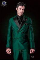 Wholesale Men Green Tuxedos Wedding Suits - Classic Design Double-Breasted Green Groom Tuxedos Groomsmen Peak Lapel Best Man Suit Wedding Men's Blazer Suits (Jacket+Pants+Tie) K426