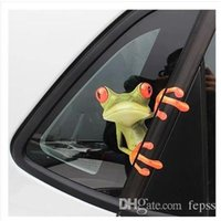 наклейки для лобового стекла для грузовых автомобилей оптовых-20 * 23 см 3D лягушка мультфильм личность автомобиля наклейки грузовик переднее окно лобовое стекло стены двери смешные виниловые наклейки наклейки автомобильные аксессуары