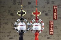 Wholesale Hanging Car Mirror Ornament - Car Auto Rearview Mirror Pendant Ornaments Lucky Cat Ceramic Car Accessories