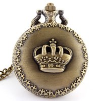 Wholesale Imperial Crown Dress - Wholesale- Hot Fashion Imperial Crown Pattern of King&Queen Retro Necklace Pocket watch vintage Men's Women's Gift