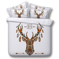 Wholesale Cartoon Quilt For Children - Deer Elk Cosmos Night Pattern 3D Printed Queen Size Bedding Quilt Duvet Cover Set Multicolor Available for Shipment Exclusively within the