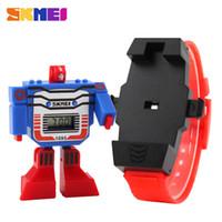 Wholesale Digital Toy Watches - SKMEI Kids LED Digital Children Watch Cartoon Sports Watches Relogio Robot Transformation Toys Boys Wristwatches 1095