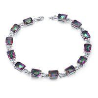 "Wholesale Silver Charm Elegant Bracelet - New Fashion Jewelry Women Elegant Gemstone Circle Tennis Bracelet 925 Sterling Silver 7.68"" Fire Mystic Topaz Crystal Oct Excellent quality"