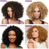 Wholesale Curly Short Wig Blond - Wholesale retail short hair Wig luxury lace front wigs Synthetic curly black blond color for black woman free shipping