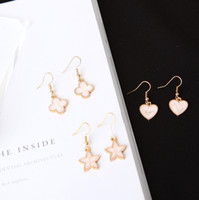 Wholesale Oil Flower Earring - Simple fashion girl pink clover love heart-shaped Earrings oil drop earrings five pointed star earrings wholesale manufacturers
