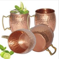 Wholesale Hammer Handles Wholesale - Hammered Moscow Mule Cups Copper Plateing Stainless Steel Mug Brass Handle Hammered Moscow Mule Mug with Solid Brass Handle 50pcs OOA1071