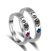 nuevo amor romántico anillos al por mayor-Nueva llegada amor hearted pareja ajustable anillos amantes románticos plateados anillos de dedo joyería para mujer regalo