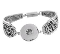 Wholesale Button Bracelet Craft - Antique Silver Snap Bracelet Personality Noosa Snap Button Carved Designs and Pattern DIY Jewelry Crafts 2 style