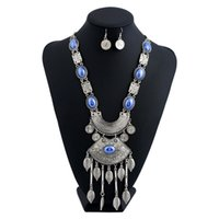Wholesale Silver Multi Gem Necklace - Vintage Flower Jewelry Sets Ethnic Silver Plated Maxi Bohemian Resin Blue Gem Multi Layer Leaf Long Tassel Pendant Necklace Women Fashion