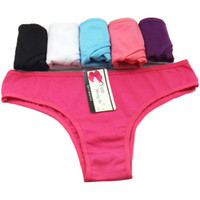 Wholesale Thong Pants Girl - Rebantwa 2016 Women Cotton Thong Girl Briefs Sexy Bikini Sexy Underwear Panties T Word Pants G String Underwear Tangas Factory wholesale