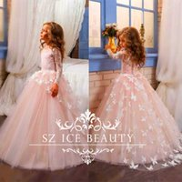 Princesa Aniversário Vestidos Flower Girl Branco 3D-floral Butterflies Appliques mangas compridas Pink Tulle vestido de baile First Communion Party Kids
