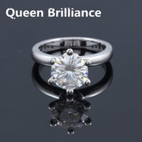 Queen Brilliance 3ctw F Color Lab Grown Moissanite Diamond Engagement Ring de boda con acentos de diamantes reales 14K 585 Oro blanco 17903