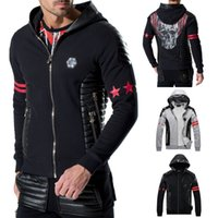 Wholesale Leather Sweatshirt Men - Crystal Skulls Hood Sweatshirt Men's With Leather Patchwork Full-Zipper Cotton Kangaroo Pocket Sports Hoodie Jumper Man