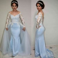 Wholesale Long Baby Blue Prom Dresses - Off Shoulder Baby-Blue Prom Dresses Lac Applique Long Sleeves Mermaid Long Party Dresses New Arrival Floor Length Detachable Evening Gowns