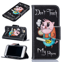 Wholesale Iphone Saw - Electric saw pig pattern Wallet Leather Case For Iphone X 8 5 6S 7 7 Plus Back Stand Holder Credit Card Holder Slot Phone Cases