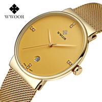 Wholesale Ultra Thin Ceramic - Luxury Design Men Quartz Watches Ultra Thin Stainless Steel Band Date Sports Watch Gold Casual Wrist Watch 8018 Top Brand