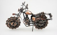 Wholesale Unique Work - 2017 Creative Hand Soldering Wrought Iron Motorcycle Model Tone Metal Moto Collection Simple Modern Unique Ornaments