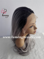 Wholesale Order Black Wigs - Stock order Cheap T Color Grey hair Synthetic hair lace front women wigs loose wave women wigs very natural looking