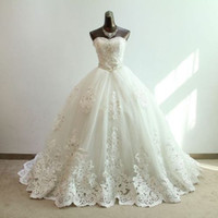 Wholesale Top Best Selling Wedding Dresses - Ball Gown Wedding Dresses 2017 Princess Bridal Custom Made Romantic Appliques US2-26W++ Best Quality Top Selling Modern Real Picture