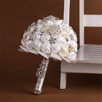 Wholesale Wedding Bouquet Silk Carnations - Custom Made Flower Crystal Wedding Bridal Bouquets Silk Roses Cheap Bride Holding Flower Bridesmaids High Quality