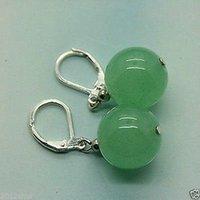 Wholesale White Jade Gemstones - Hot New Handmade Beautiful 12mm Green jade gemstone Earrings