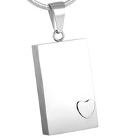 Wholesale Stainless Steel Rectangle Pendant - IJD2477 Heart Inlay Rectangle Blank Pendant Unisex 316L Stainless Steel Ashes Keepsake Memorial Jewelry Cremation Urn Necklace Wholesale