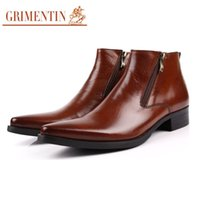 Wholesale Italian Shoe Boots Men - Wholesale- GRIMENTIN fashion Italian classic luxury fashion formal dress men leather boots black zipper pointed toe flats man shoes b232