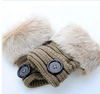 Wholesale Button Favors - Button gloves Women Girl Knitted Faux Rabbit Fur Fingerless gloves Winter Warmer outdoor Mittens colorful Fashion Accessories party favors