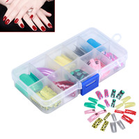 Discount patterned french tips - Random Color 100pcs Box False Acrylic Gel Airbrush Pattern & French Mix Nail Art Tips Salon Decoration