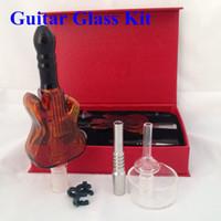 Wholesale Glass Guitars - New Version Nectar Collector 2.0 Kit Guitar glass kit with Curved Glass Bowl Nail Titanium Nail Honey Straw Unit Glass Dish Quartz