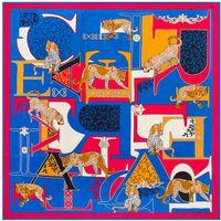 Wholesale Silk Square Neck Scarves - Wholesale- 2016 Luxury Brand 100% Twill Silk Scarf Woman Letters Leopard Neck Wraps Echarpe Square Female Big Size Shawl Hijab Neckerchief