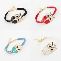 Wholesale Enamel Color Charm - Good A++ Wild Belt Color Owl Bracelet Fashion New Hot Bracelet FB179 mix order 20 pieces a lot Charm Bracelets