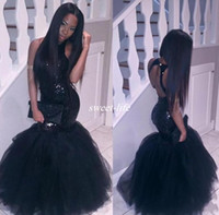 Wholesale Cheap Boned Corsets - Sparkly Black Girls Mermaid African Prom Dresses 2017 Halter Neck Sequins Tulle Sexy Corset Formal Dress Cheap Party Pageant Gowns