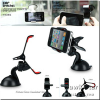 Wholesale Car Windshield Stand Phone - Universal 360 degree Car Windshield Mount cell mobile phone Clipper Vehicle Swivel Mounts Holders Bracket stands For Iphone 6 7 Samsung LG