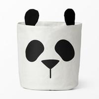 stoffbehälter organisatoren großhandel-Neue Speicherkörbe für Kinderzimmer Leinwand Stoff Spielzeug Speicher Eimer Bins Kinder Wäsche Veranstalter Kleidung Panda Muster Kinderzimmer Dekor
