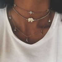 Wholesale Titanium Collars - Rhinestone Star Collar Chokers Necklace Statement Jewelry luxury Maxi Necklaces For Women Wedding Birthday Jewelry Gifts