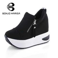 Atacado- BONJOMARISA Brand New Mulheres Ankle Boots Leisure Skid Proof High Wedges Sapatos Mulher Cosy Casual Primavera Outono Platform Boots