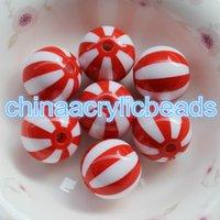 полимерный глобус оптовых-50шт 20 мм смолы арбуз Глобус бусины коренастый пляжный мяч / арбуз полосатые бусины