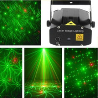Wholesale Music R - Mini Laser Stage Lighting 24 Styles 6 in 1 Stage Light Voice Control Stage Light Red & Green LED R&G Projector indoor music DISCO DJ Party