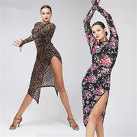 Wholesale latin salsa ballroom dance dress - Adult Girls Latin Dance Dress Salsa Tango Chacha Ballroom Competition practice Dance Dress Leopard Long Sleeve Flower Printed Long Dress